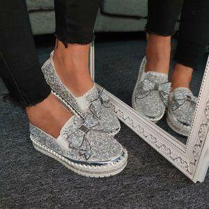 Muguan Rhinestone Slip On Loafer Platform Shoes 6